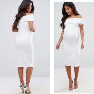 ASOS Maternity Deep Bardot Midi Bodycon Dress